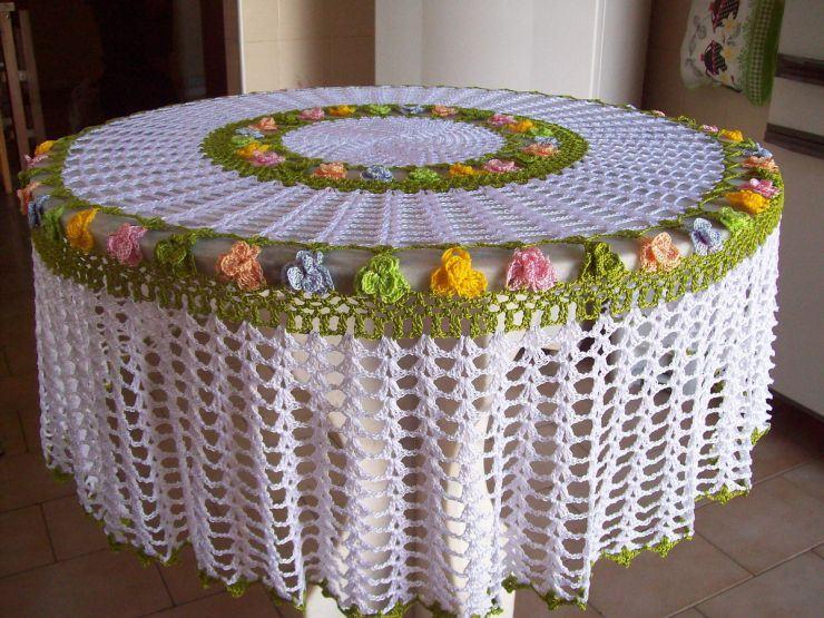 toalha croche colorida
