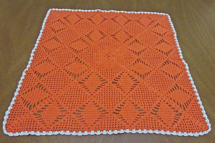 toalha croche laranja