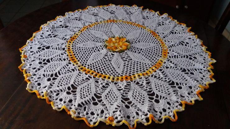 toalha croche com flor
