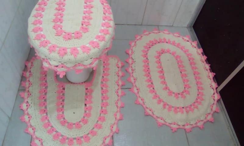 Jogo De Banheiro Quadrado Simples : Tapete de croch? para banheiro f?cil ideias