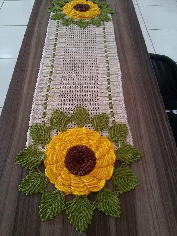 tapete croche oval com flor
