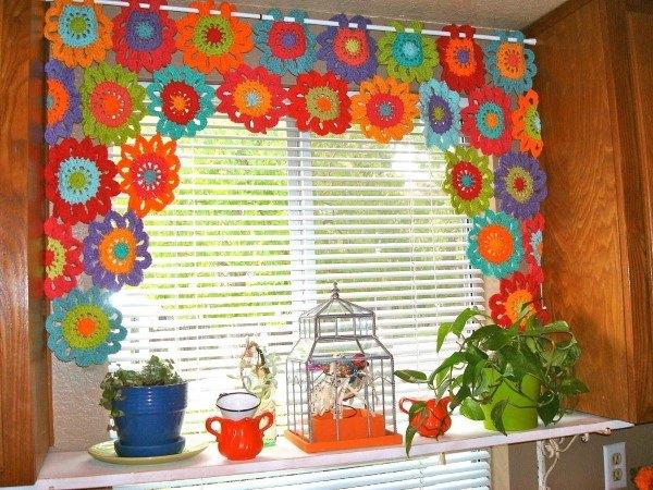 flor de croche para cortina