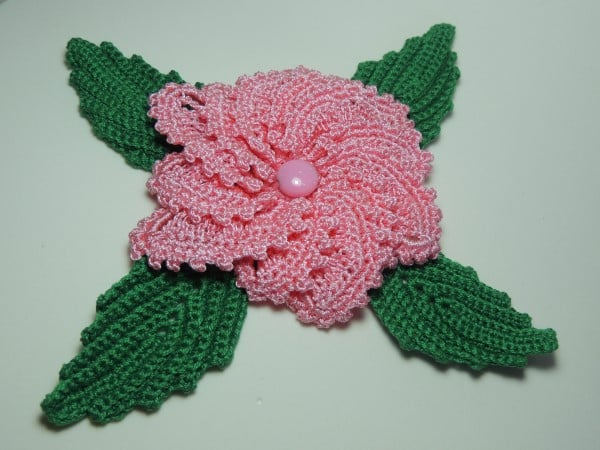 flor de croche aplique catavento