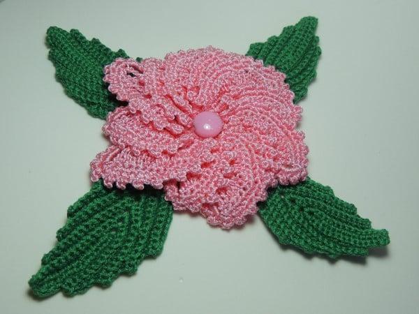 flor de croche aplique catavento