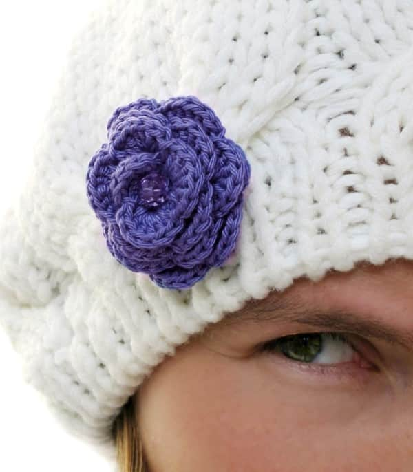 flor de croche para cabelo