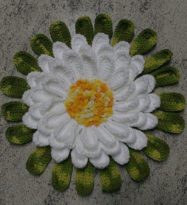 passo a passo de flor de croche margarida