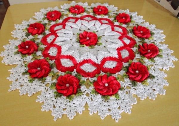 flor croche vermelha