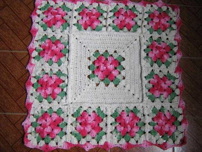 Aparência Analgésico Complexo Tapete De Crochê Com Flores Quadrado Pxm Pt