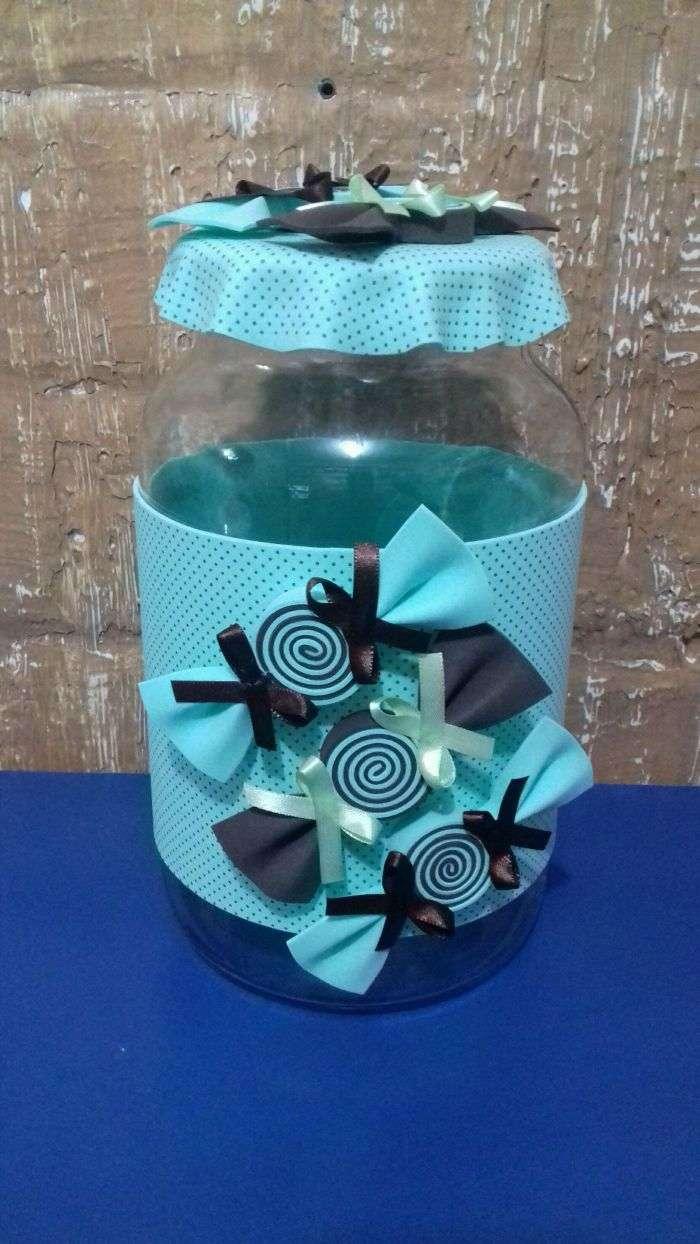 Como Reciclar Vidros de Azeitonas 30 Ideias Artesanato Passo a Passo! -> Decoração De Vidros De Conserva Com Eva