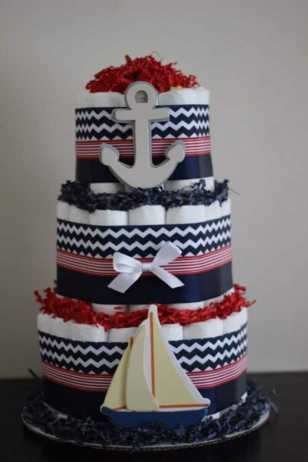 bolo de fralda azul e branco