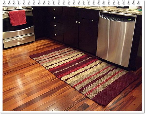 tapete de croche para cozinha duas cores