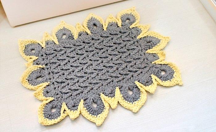 flores de crochê passo a passo para tapete