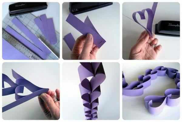 DIY para corrente de coração com papel