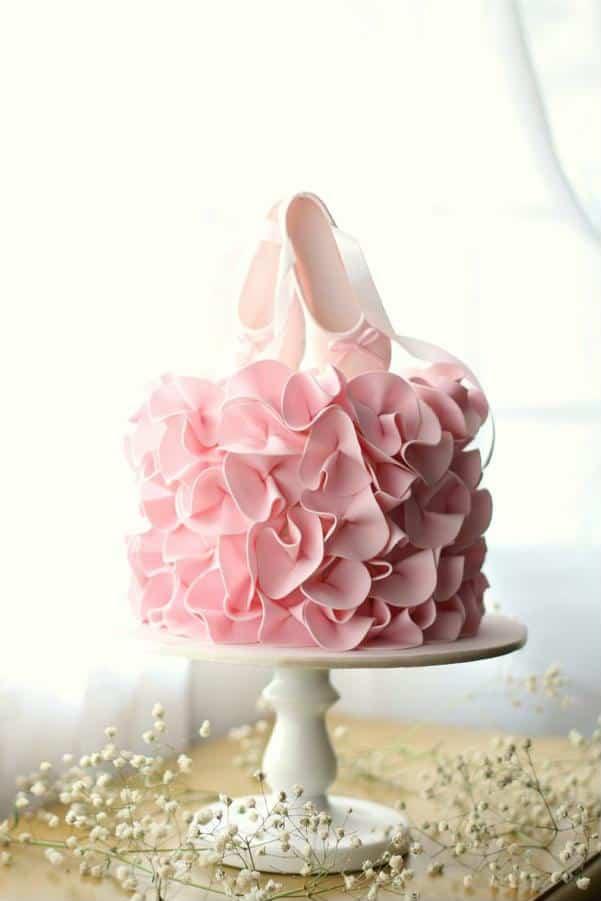 Detalhe sapatilha bailarina para bolo
