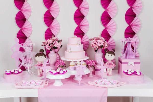 Mesa do bolo festa bailarina