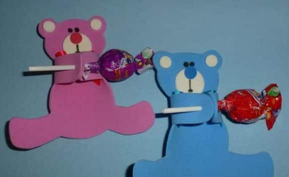ursinhos de EVA para lembrancinhas de pirulito