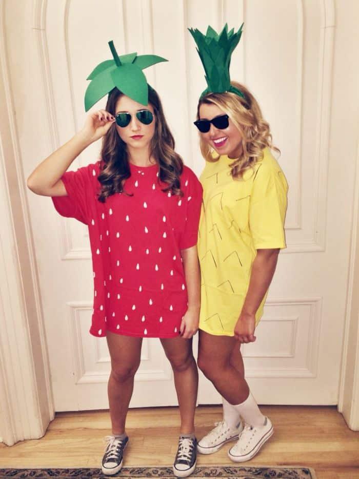 ideia de fantasia criativa barata com roupa de frutas