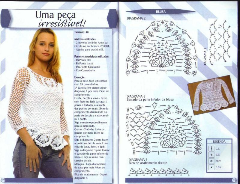 bf256edf9 Blusa de Crochê Passo a Passo: Gráficos, Fotos - Artesanato Passo a ...
