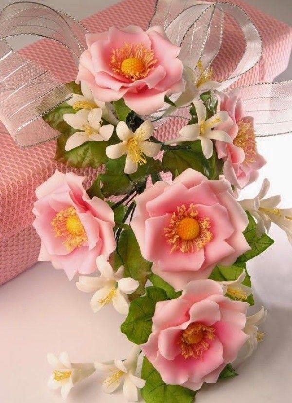 buque de flores de biscuit