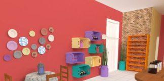 caixotes coloridos na cozinha