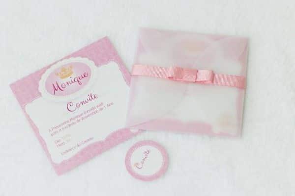 convite infantil com papel de seda