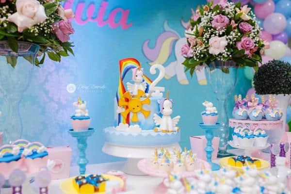 Decoração de aniversário com tema unicórnio baby