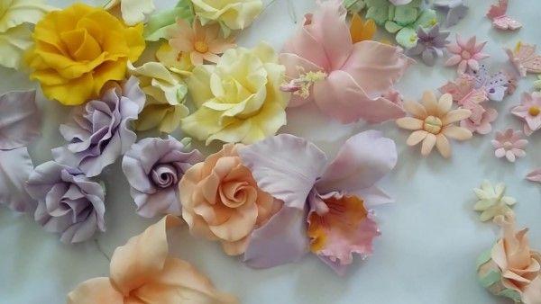 flores diversas de biscuit