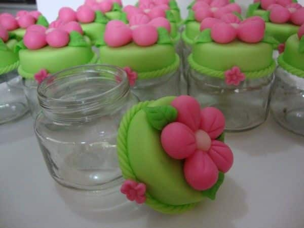 potinhos de flores de Biscuit