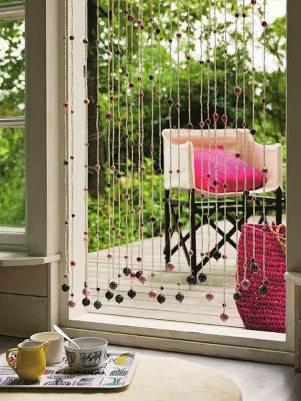 Cortina de miçangas janela varanda