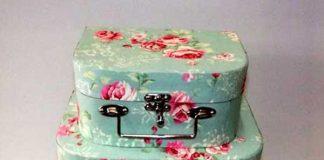 Kit com 3 maletas de cartonagem verde com flores