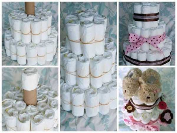 Bolo de fraldas rosa Modelos e fotos Artesanato Passo a Passo! # Decoração Para Chá De Fraldas Passo A Passo