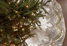 Saia árvore de natal em cetim