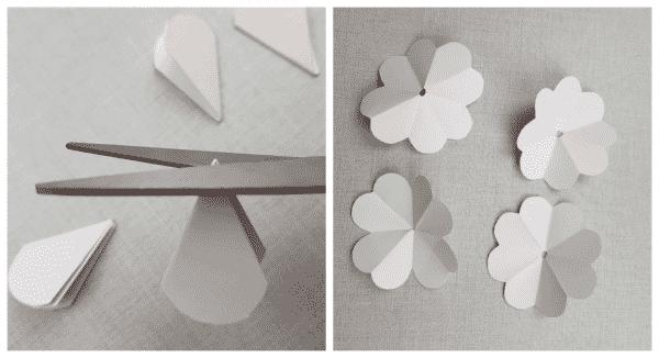 flores de papel corte no fundo