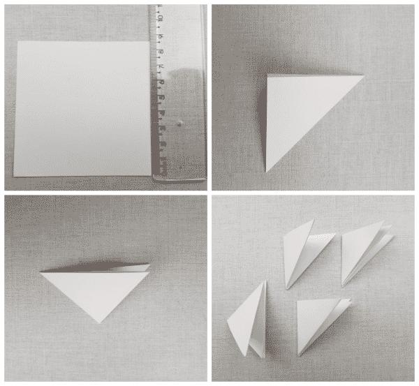 flores de papel triângulos