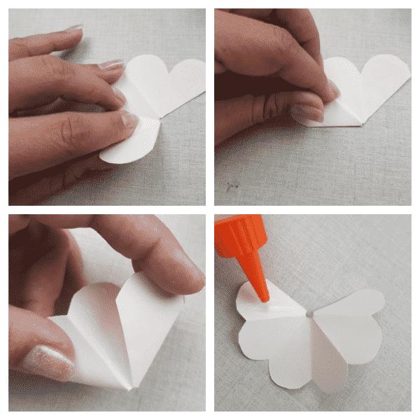 flores de papel sendo coladas