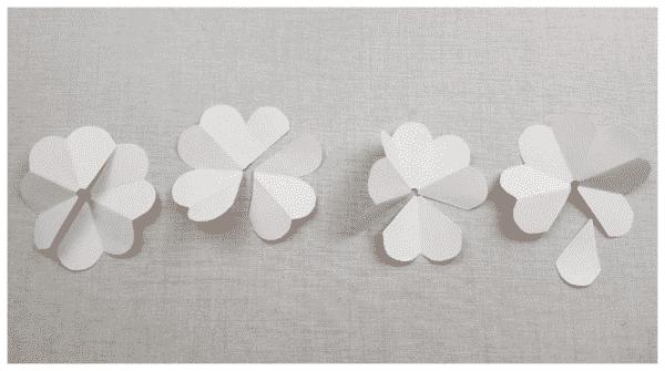 flores de papel corte final de pétalas