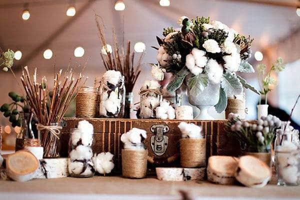 decoração bodas de algodão