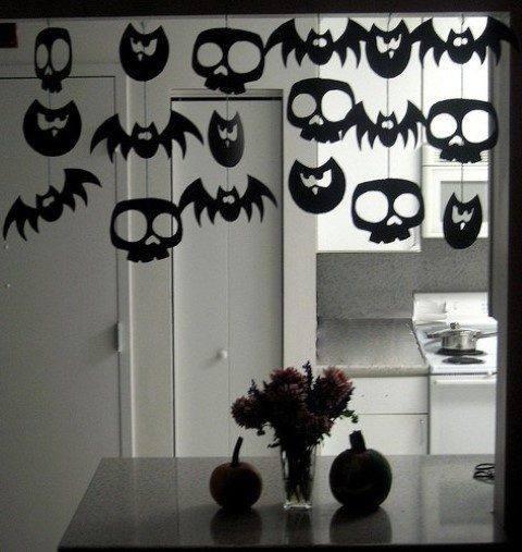 decoração morcegos caveiras