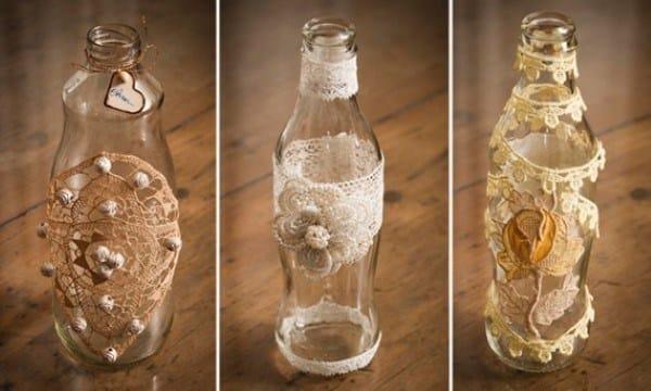 garrafas com rendas