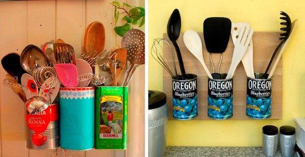 organizador com latas para cozinha