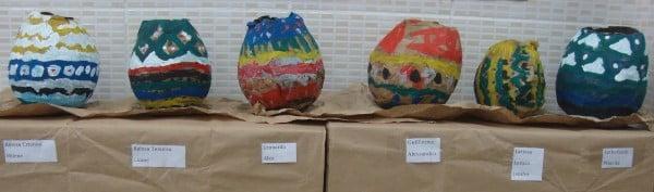 vasos de papel machê indígenas