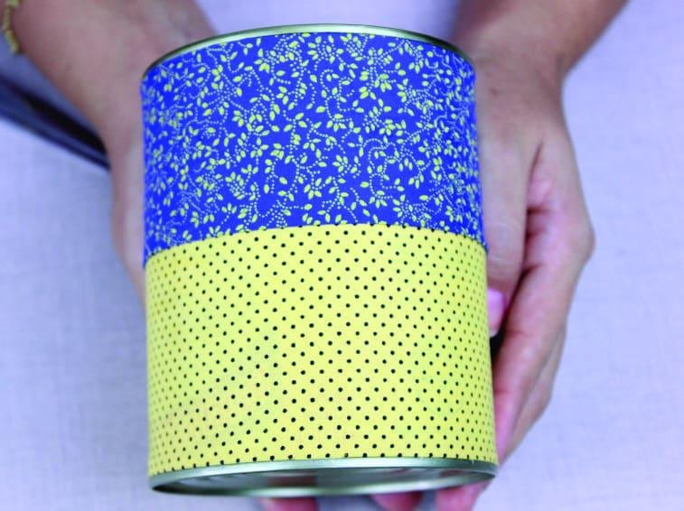 Artesanato com lata decorada com Tecido 11