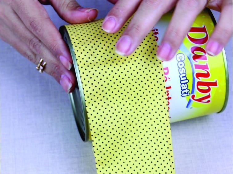 Artesanato com lata decorada com Tecido 5