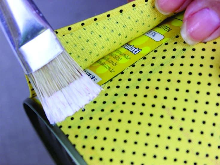 Artesanato com lata decorada com Tecido 9