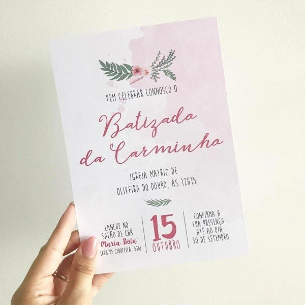 convite de batismo rosa