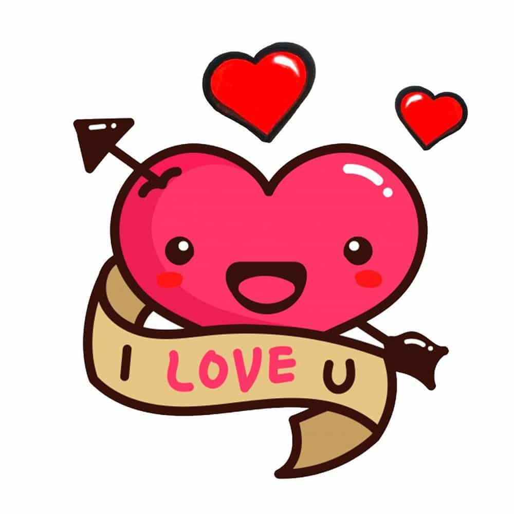 coração colorido i love you