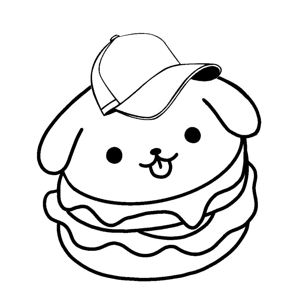 desenhos kawaii hamburger