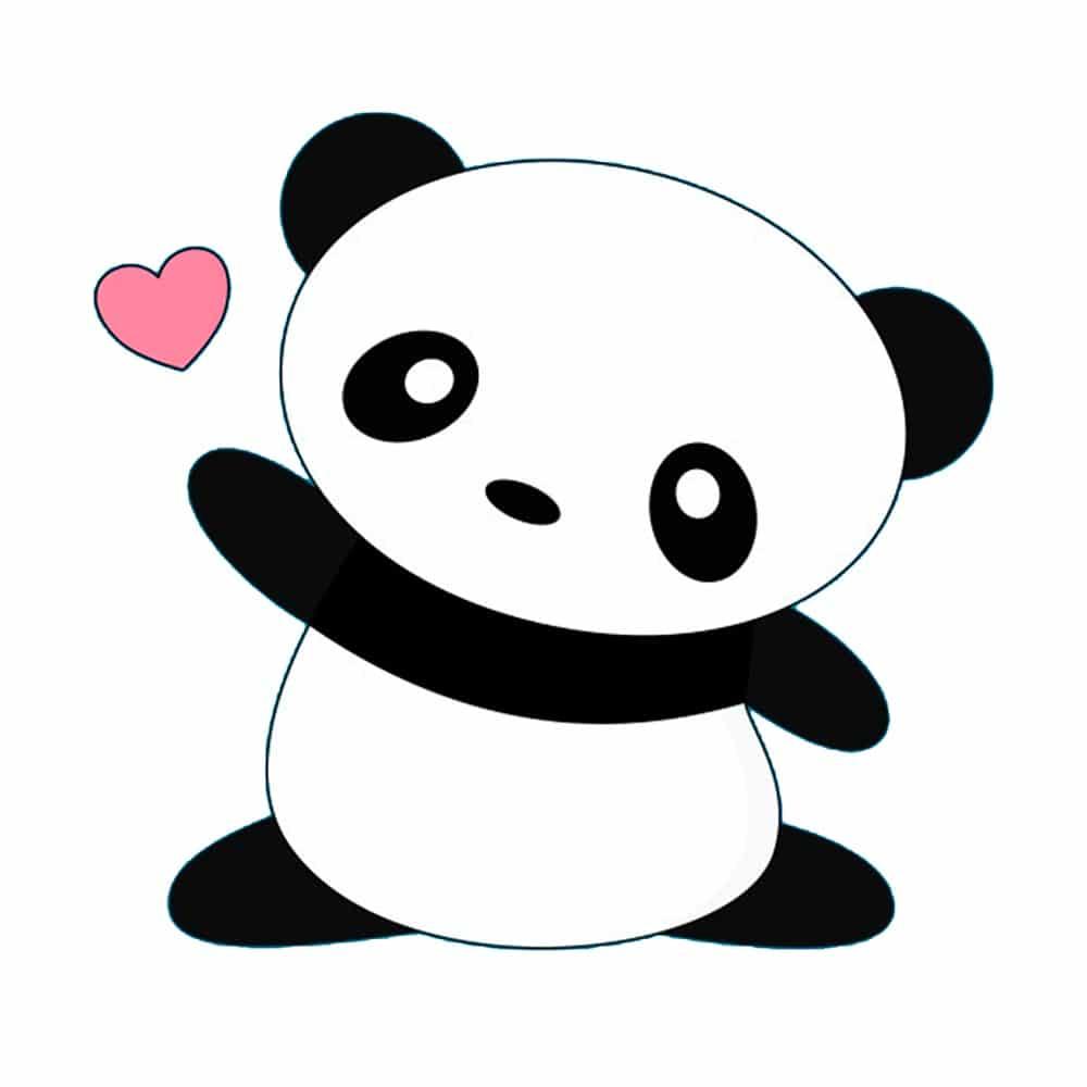 panda kawaii em branco e preto