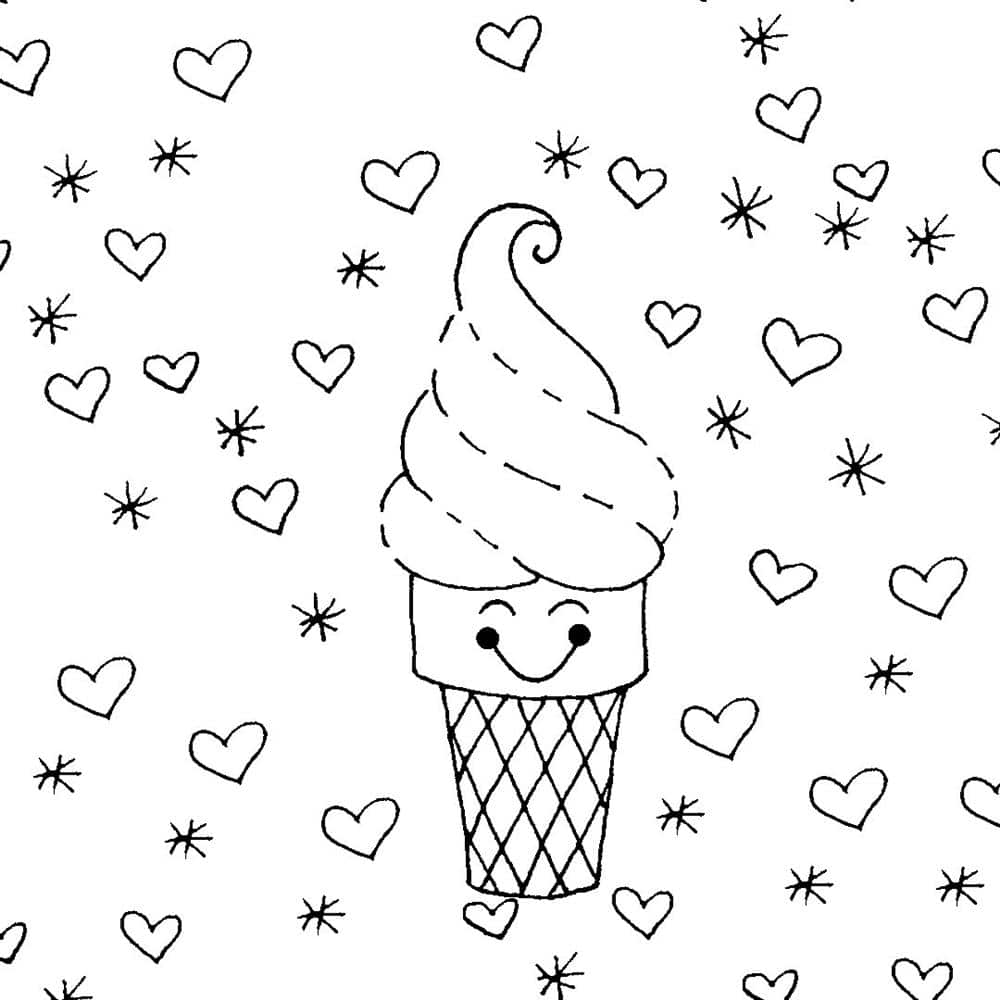 desenhos kawaii de sorvete