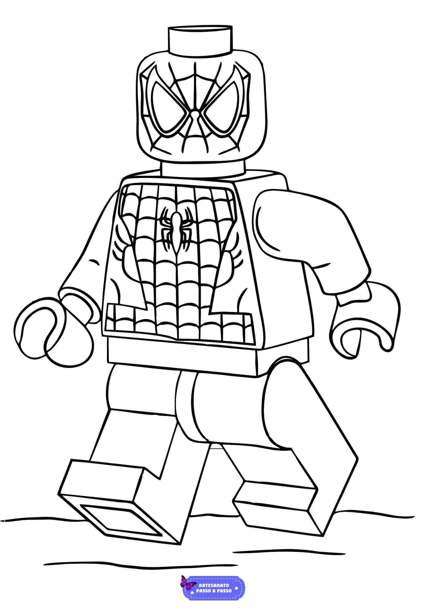 desenho do homem aranha lego para colorir